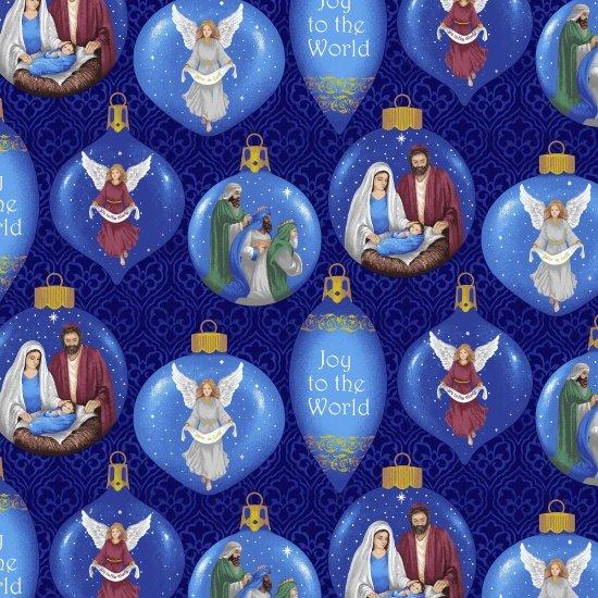 Blank Silent Night 8547 77 Blue Christmas Ornaments