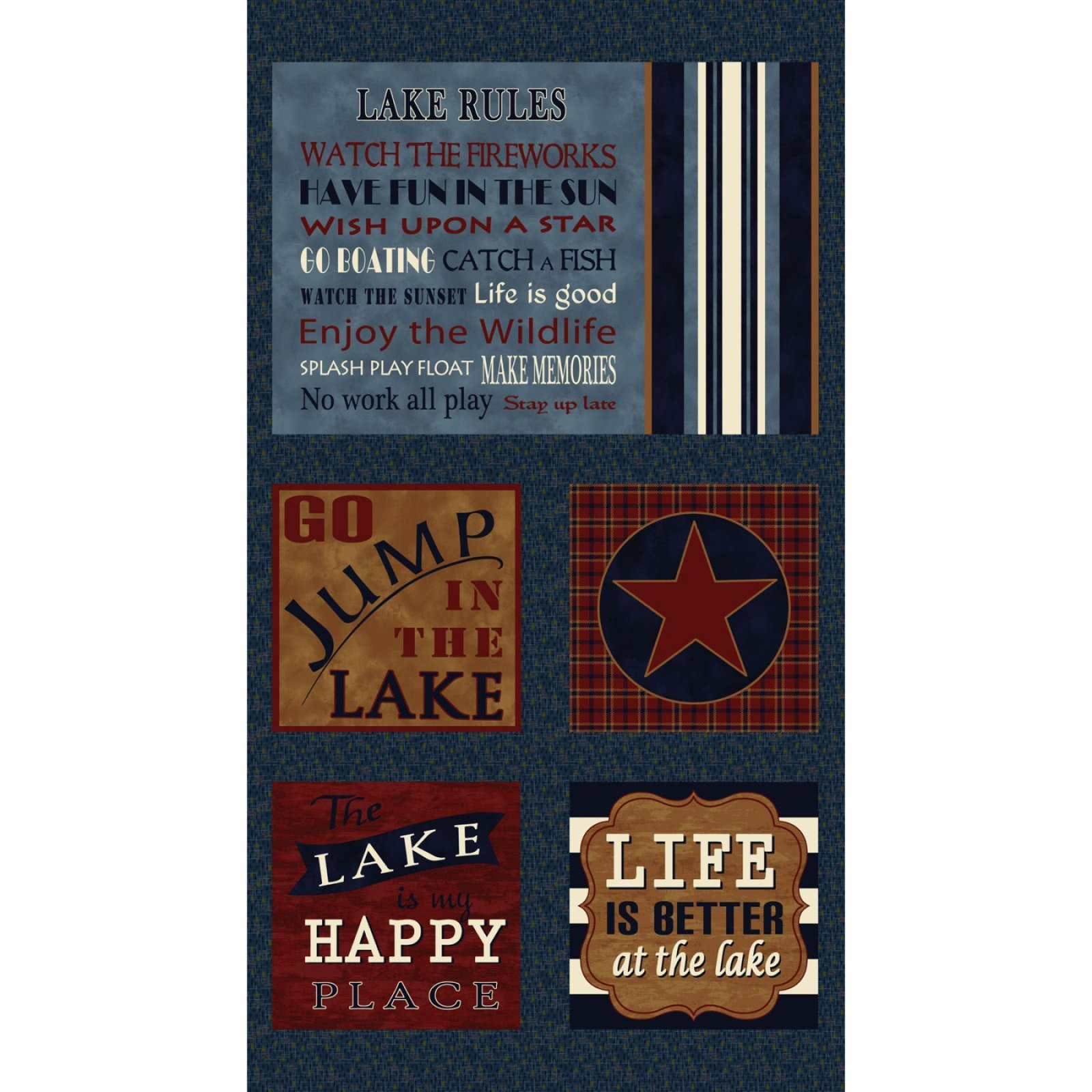 Henry Glass Better At The Lake  8607P 77 Panel