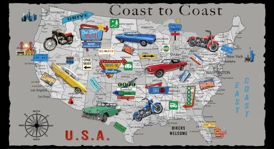 Blank Quilting Coast to Coast USA Map Panel 9198P 90