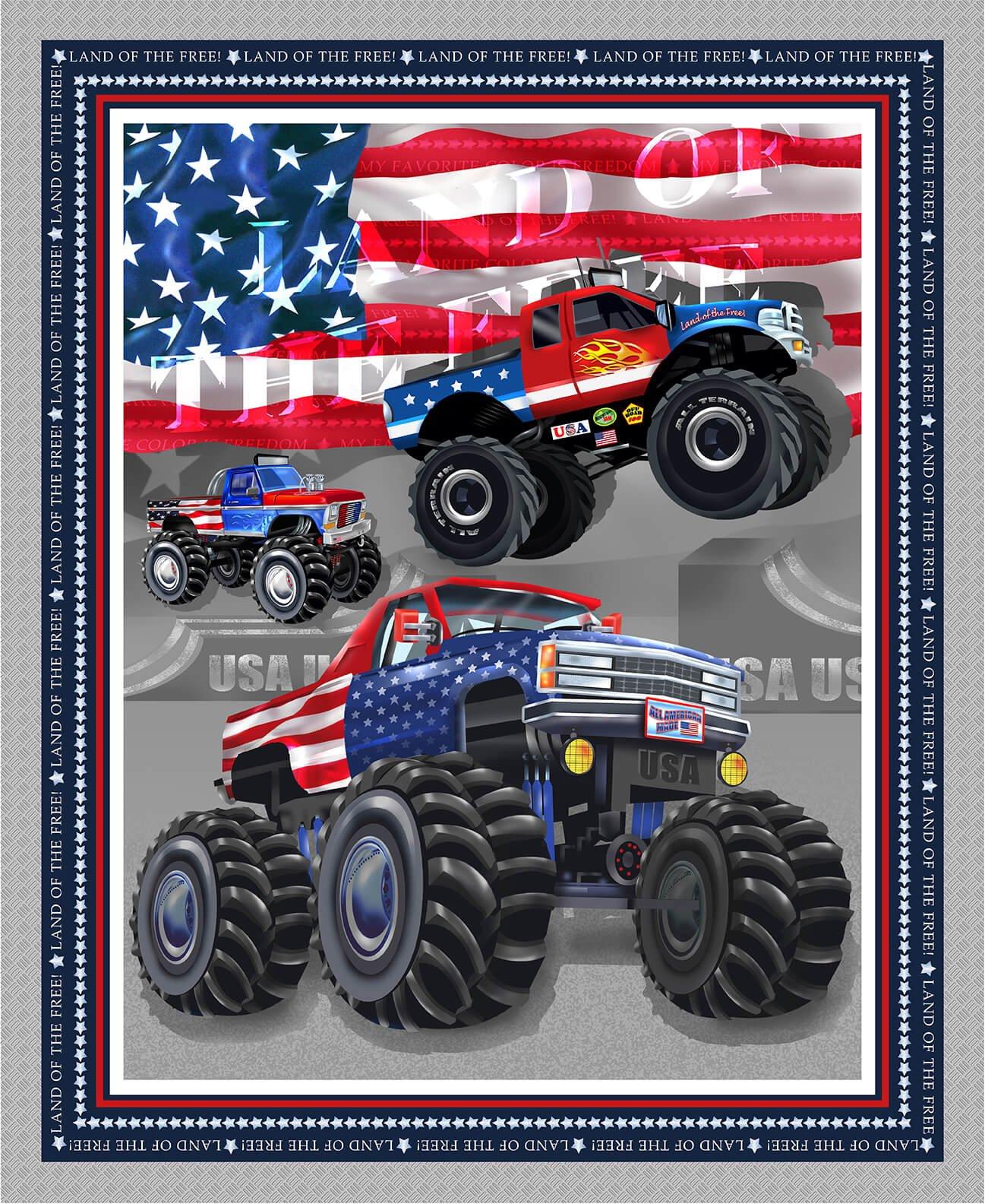 Henry Glass Amerian Truckers 9484P 90 Silver Monster Trucks Banner Panel 36in