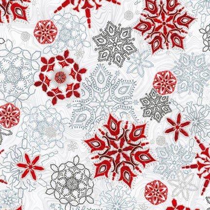 Robert Kaufman Holiday Flourish 11 Silver Snowflakes APTM 17337 186