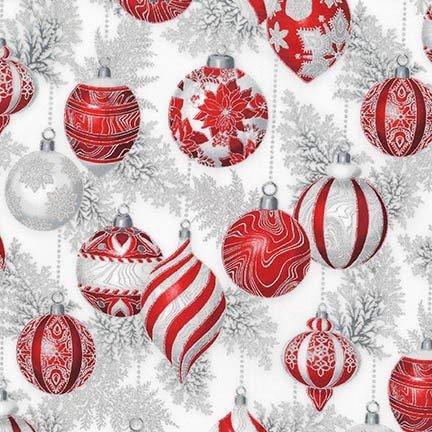Robert Kaufman Holiday Flourish 11 Silver Ornaments APTM 17338 186