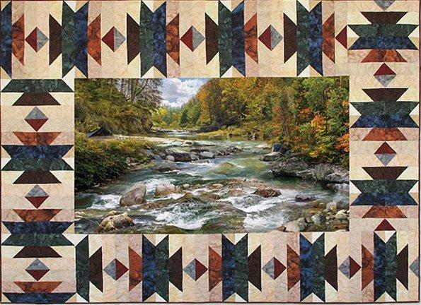 Hoffman Fabrics Call Of The Wild Border Kit Aztec Oak CWBKIT 131