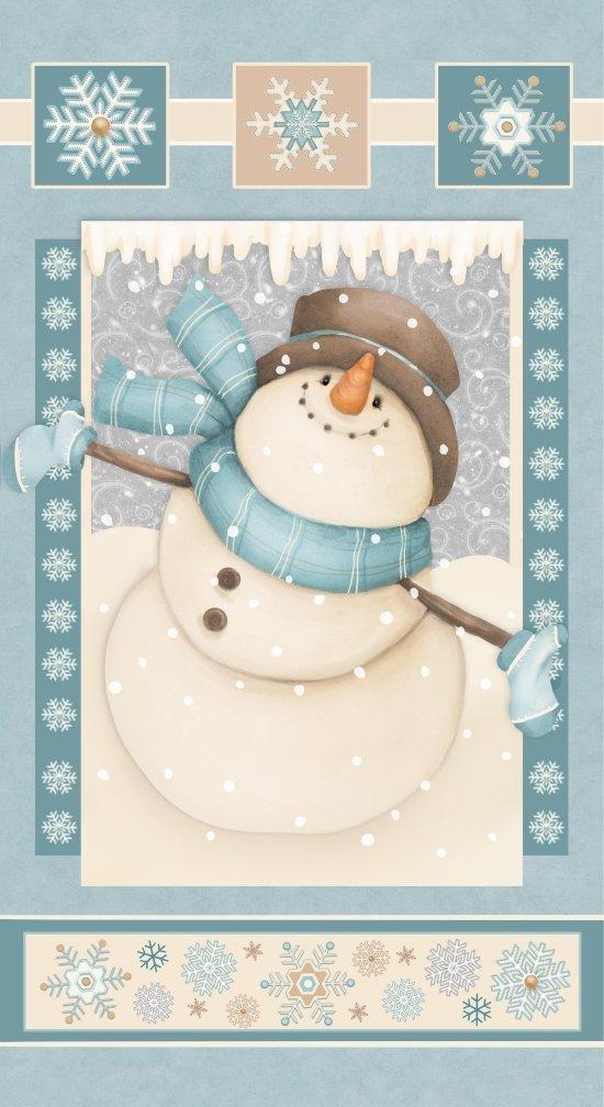 Henry Glass I Still Love Snow Flannel Snowman Panel F6792P 11