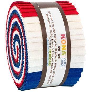 Kona Cotton Solids Patriotic Half Roll 2.5 Precut Cotton Fabric Strips HR-151-24 Robert Kaufman