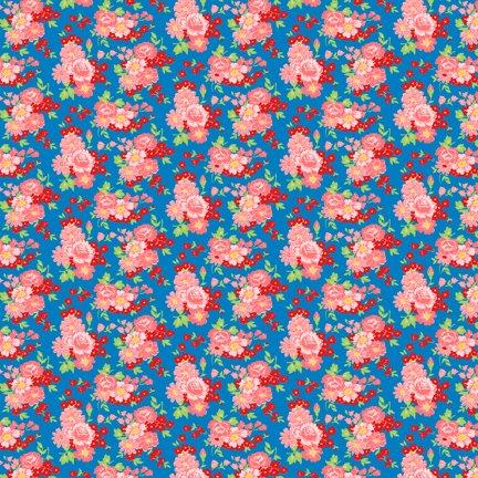 Wilmington Prints Amorette Roses Blue/Pink Q1803 98634 437