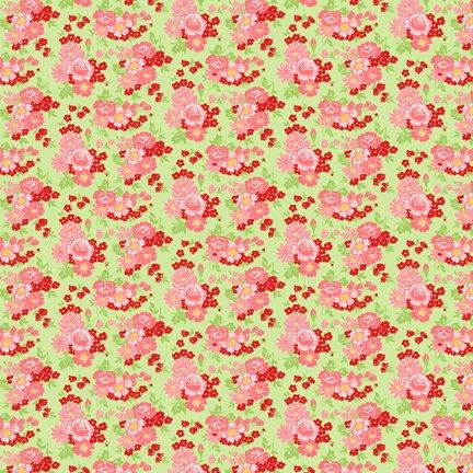 Wilmington Prints Amorette Roses Green/Pink Q1803 98634 737