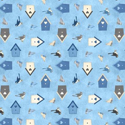 Wilmington Prints Welcome Winter Birds & Birdhouses Med Blue Q1828 82546 449