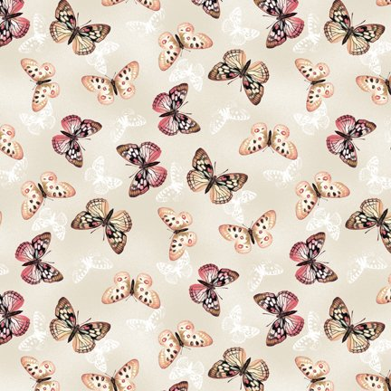 Wilmington Prints Tivoli Garden Cream with Multi Butterflies Q3007 68406 138