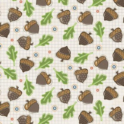 Adornit Timberland Critters Critter Parade Fabric Falling Acorns Tan Fabric T-00497
