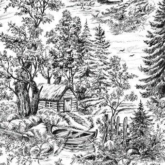Blank Textiles Woodland Forest 8036 009 White/Black
