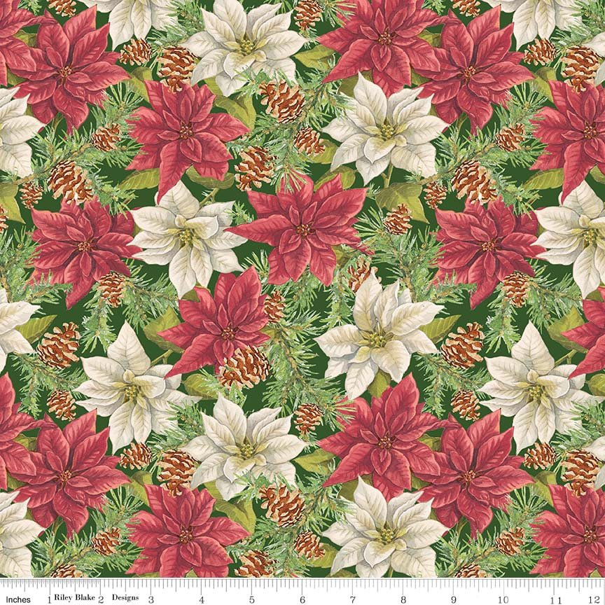 Penny Rose Anne of Green Gables Poinsettias in Green C6491