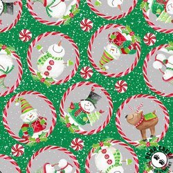 Joy Peace and Love - Candy Cane - Green