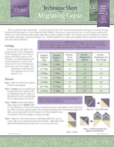 Migrating Geese Technique Sheet Studio 180 Design, Deb Tucker