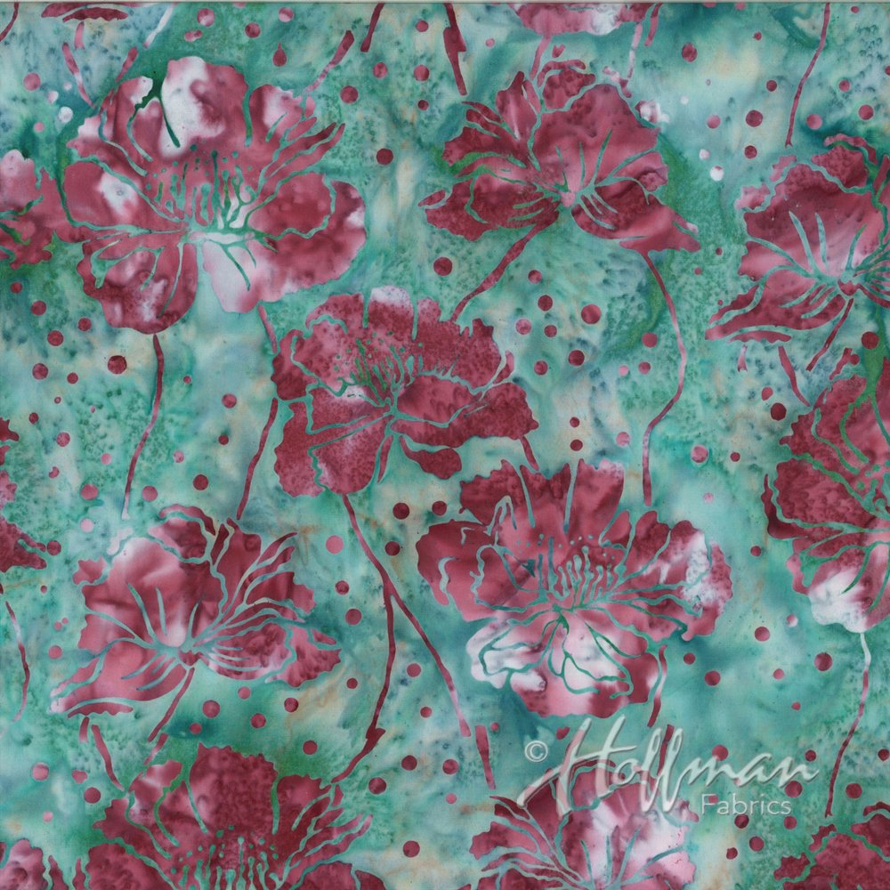 Hoffman Bali Batiks P2939-550 Poppies Big Sur