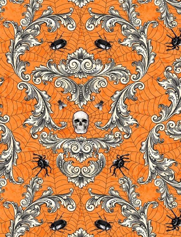 Gone Batty 56063 819 Creepy Crawley Damask Orange