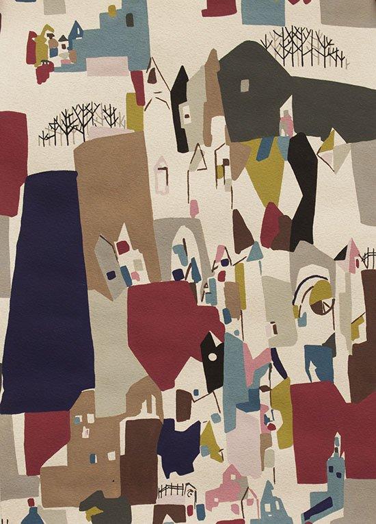 A Ghastlie Abstract 8386/BR Deep Claret