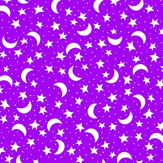 Fright Night A8571-P Night Sky White on Purple