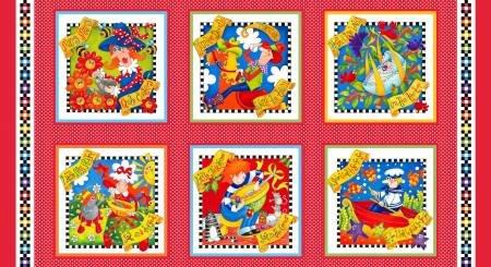 Bedtime Rhymes 6730P-87 Red Blocks 24in Panel