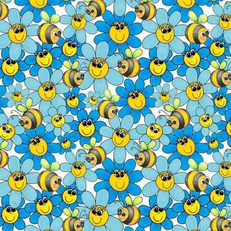Bedtime Rhymes 6734-01 Blue Daisies & Bees