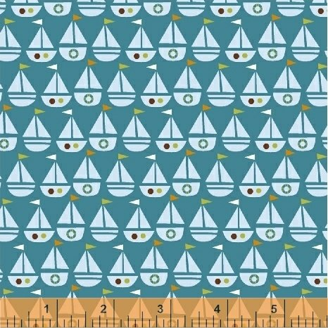 Seaside 42694 6 Teal Sailboats
