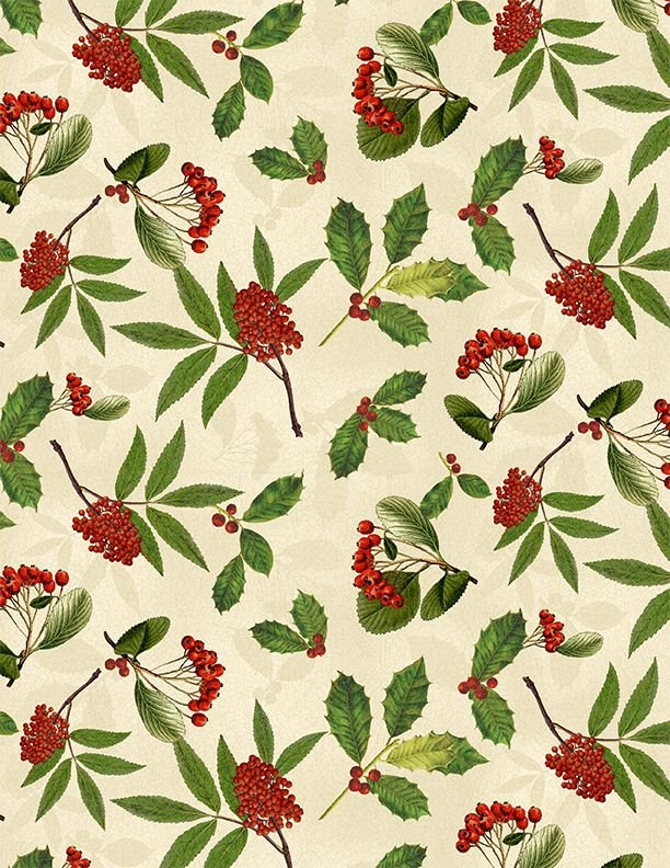 Festive Forest Holly & Berries 68478 173 Cream