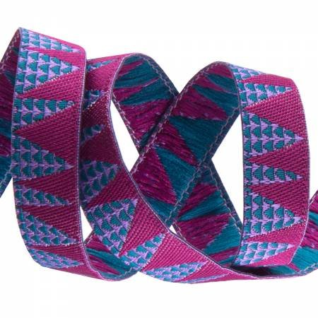 3/8in Ribbon Magenta Stems on Blue