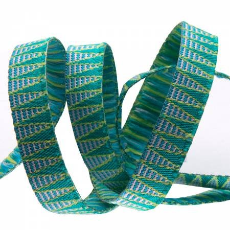 3/8 Ribbon Stripes Aqua Green Stems