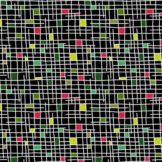 Holiday Tweets A-131-KR Midnight Grid
