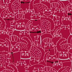 Cat Fish 26730 R Sketched Cats Red