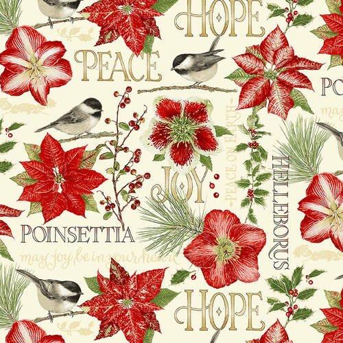 Holiday Botanical 9549 Flowers & Birds Multi