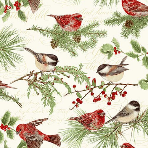 Holiday Botanical 9551 Birds & Twigs Multi