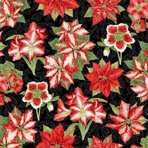 Holiday Botanical 9552 Amaryllis & Poinsettias Black