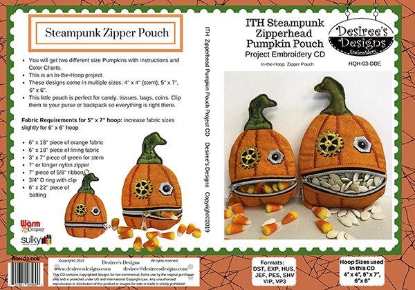 Steampunk Halloween Zip Head Emb CD 3884B