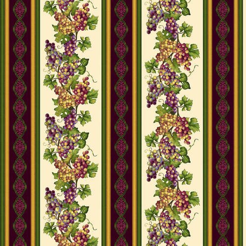 Vineyard 5020-33 Cream/Multi Grapevine Border Stripe