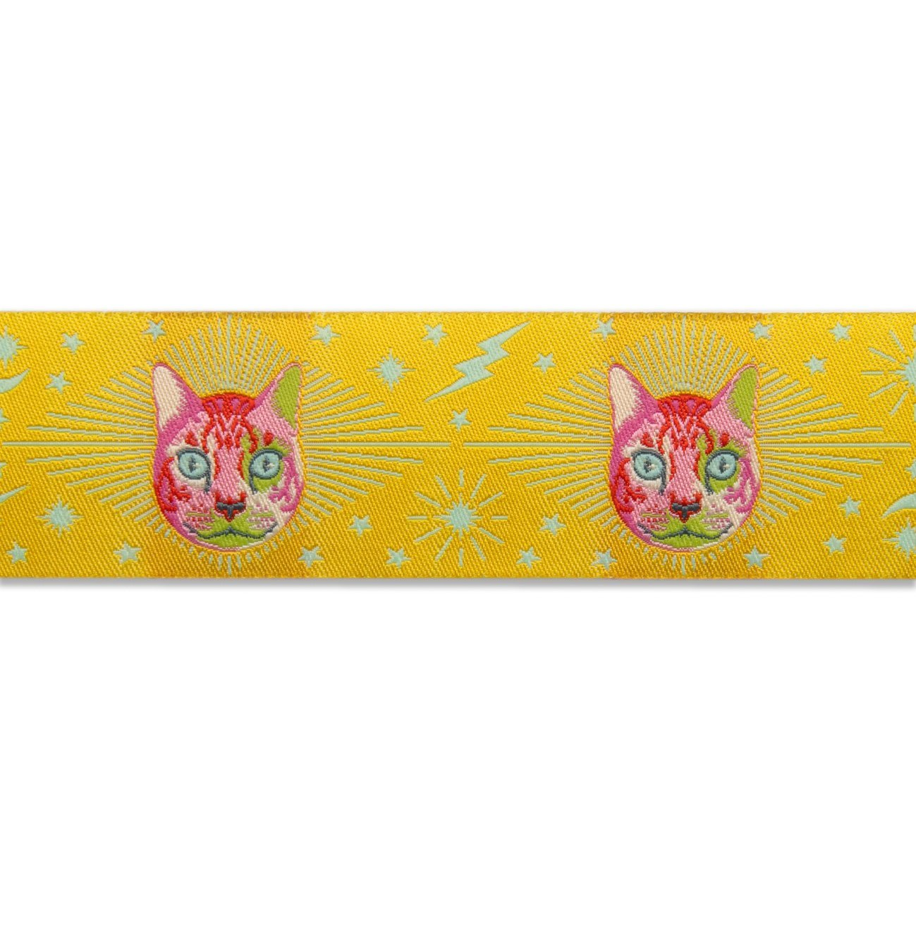 RIBBON Cheshire Cat on Yellow 1.5in