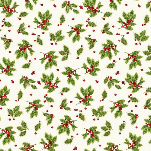 Holiday Botanical 9554 Tossed Holly Leaves Cream