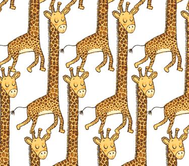 Playful Cuties 14924 White Giraffes Flannel