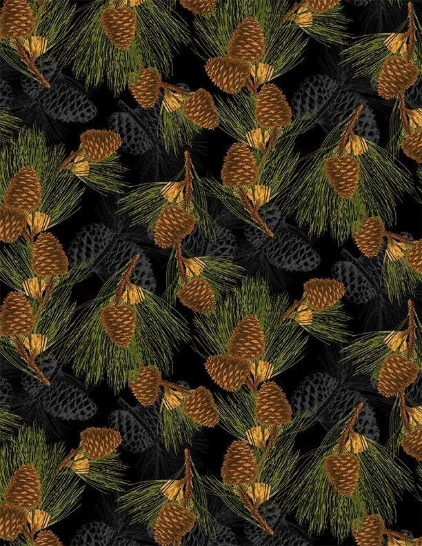 Festive Forest Pine Cones 68477 927 Black