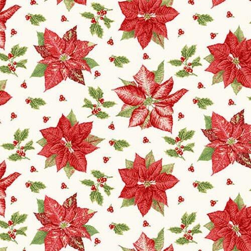Holiday Botanical 9556 Tossed Poinsettias Cream
