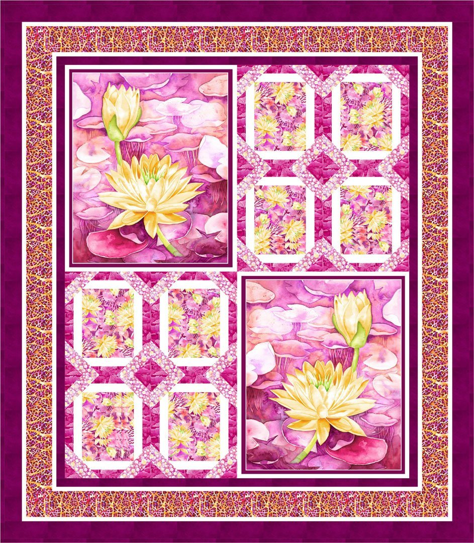 Pink Water Lilly Quilt Kit