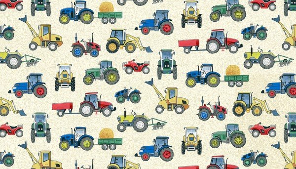 Village Life by Makower UK, TP-2296-Q,  Tractors on Cream