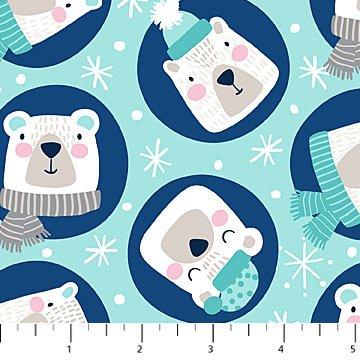 Polar Bears on Blue Flannel