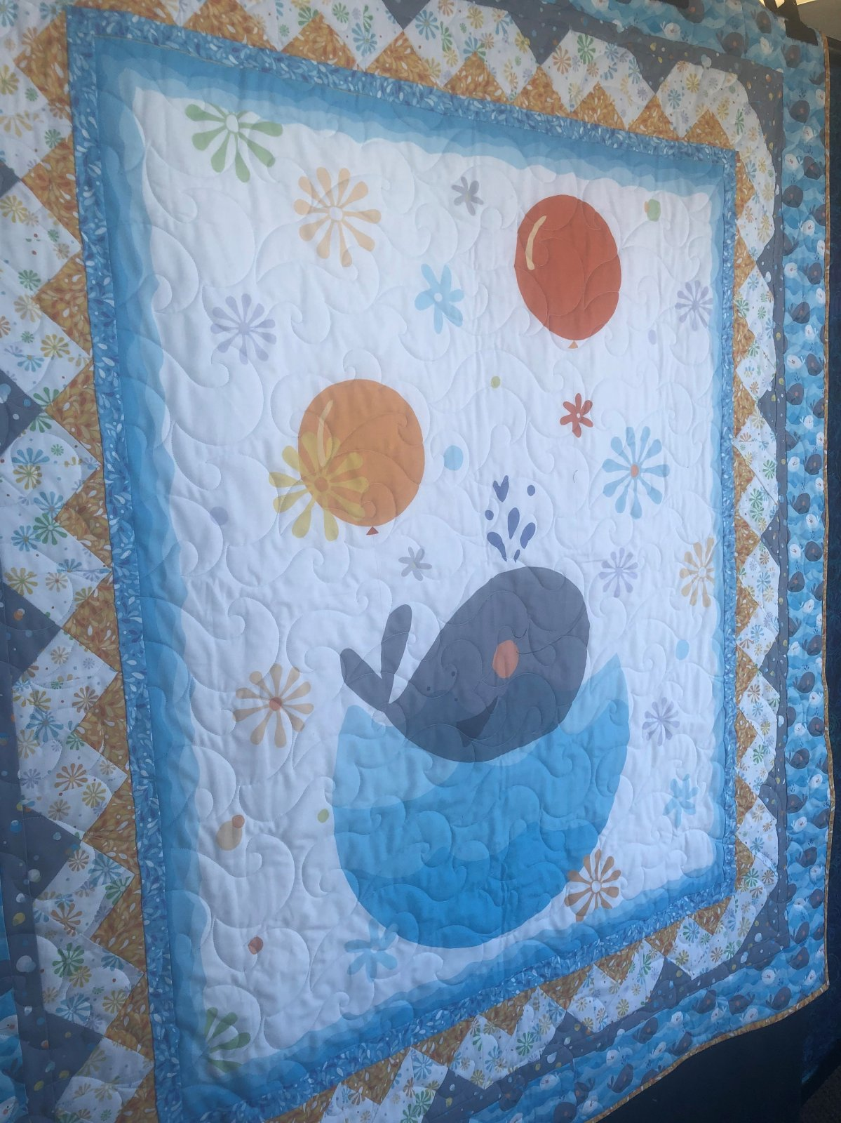 Whale of a Time Quilt Sample 53 x 60