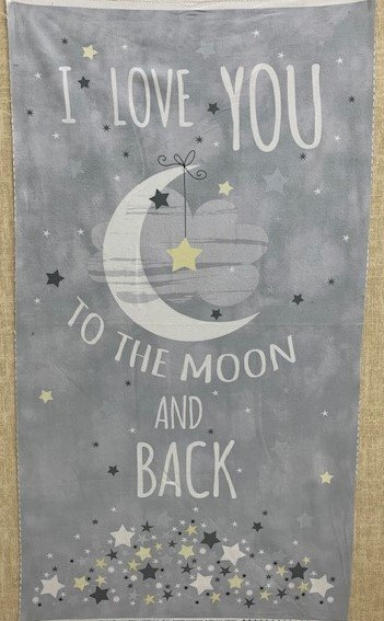 Love you to the Moon Panel - Flannel