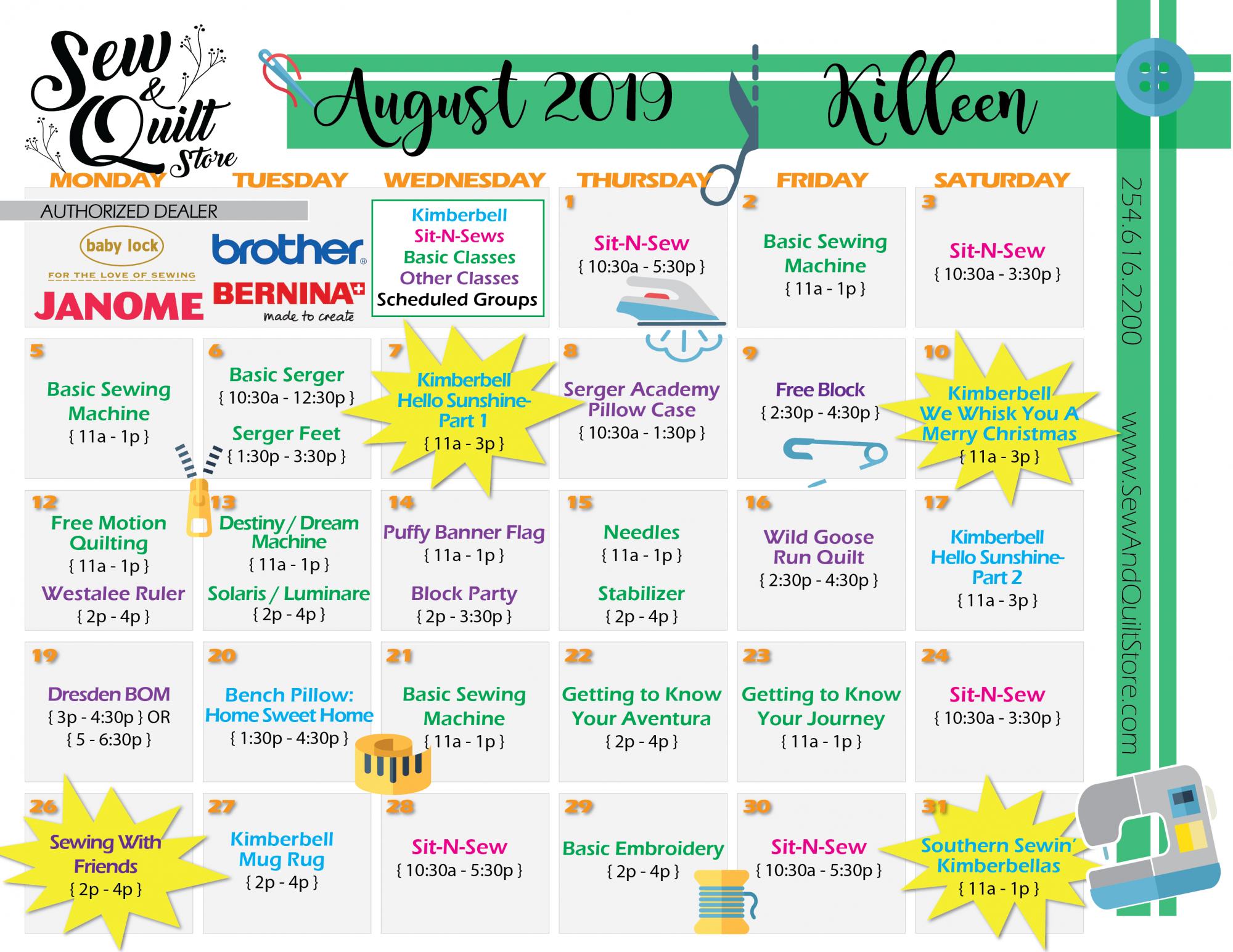 Killeen Sew & Quilt August 2019 Calendar