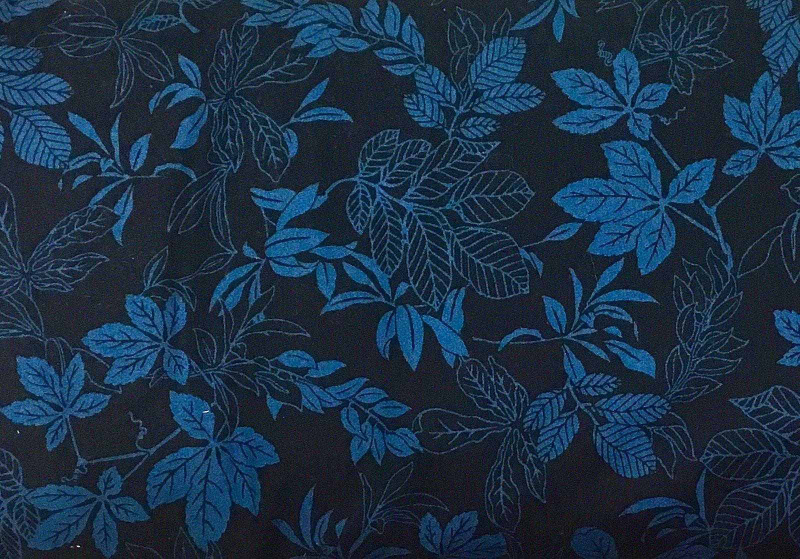 108 Modern Leaf Quilt Backing - Dk Blue