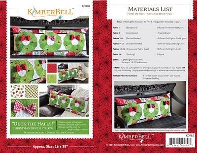 Kimberbell  Deck The Halls Christmas Bench Pillow