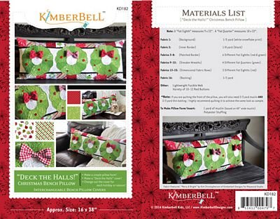 Kimberbell  Deck The Halls Christmas Bench Pillow