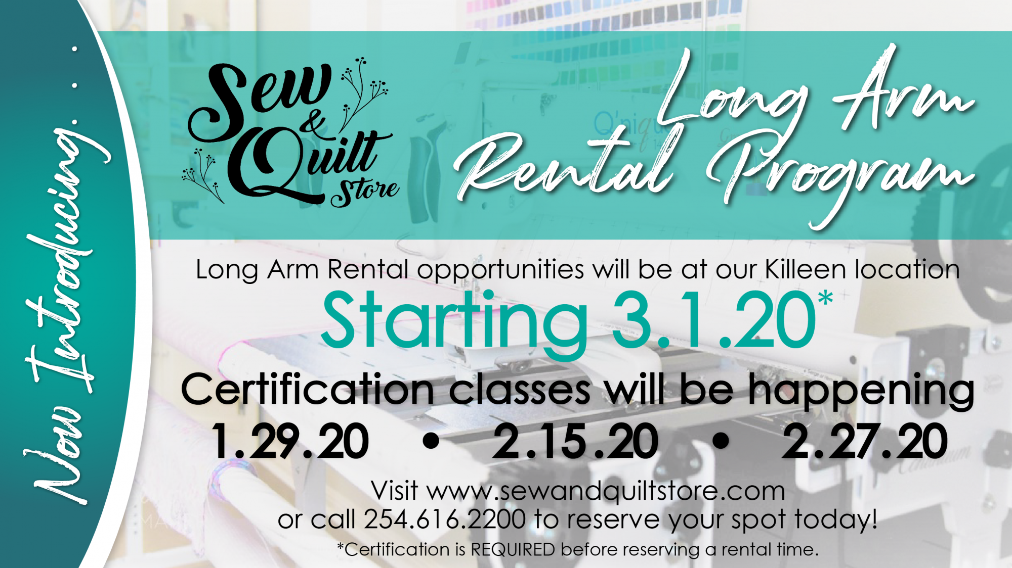 Long Arm Rental Certification Class